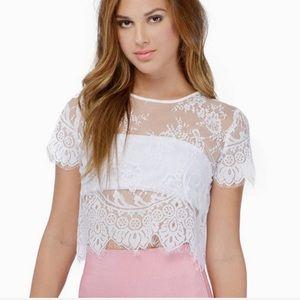 Tobi White Sheer Lace Crop Top